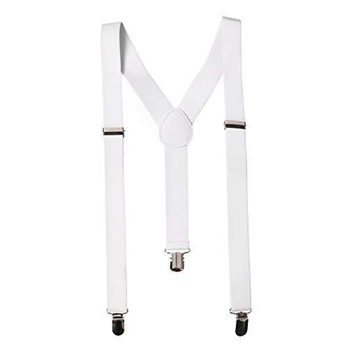 CoverYourHair White Elastic Suspenders - Wide Gangster Braces with Clips