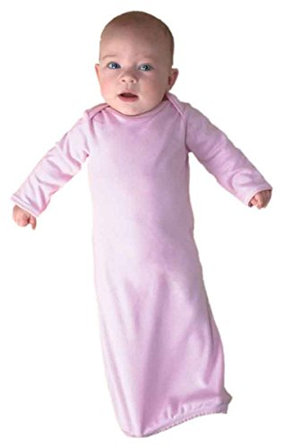 Infant Baby Rib Lap Shoulder Gown by Rabbit Skins - Pink - (Newborn Baby Gown)