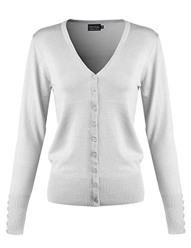 Instar Mode Women's Classic Button Down Long Sleeve V-Neck Soft Knit Sweater Cardigan [S-3XL] White S ()
