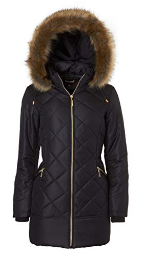 Women's Long Down Alternative Puffer Coat Zip-Off Plush Lined Fur Trim Hood - Black (Medium) (Hooded Parka Fur)