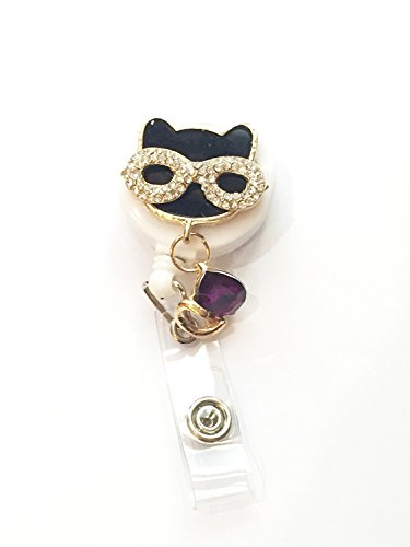 Bling Rhinestone Black Glasses Cat Nerdy Decorated Retractable Badge Reel ID Holder with Clip Backing