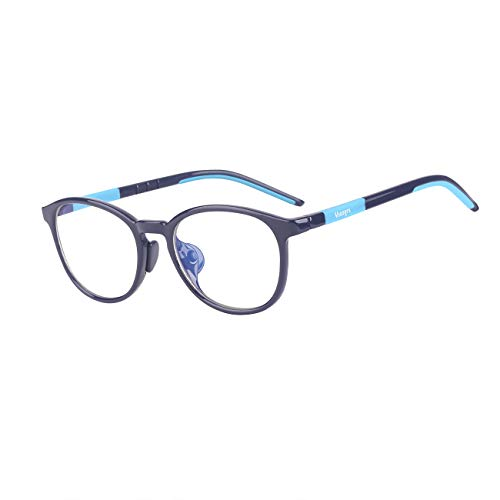 Kids Computer Glasses Video Gaming Glasses - Kids Blue Light Blocking Glasses for Digital Screen Anti Harmful Blue Light/UV400 Good Choice to Protect Children's Eyesight - Suit for Age 2-14 (Blue) ()