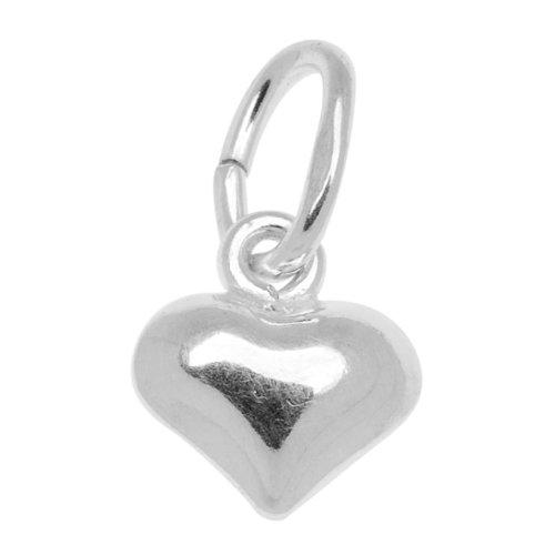 Beadaholique Sterling Silver Charm Sleek Puff Heart 5.5mm