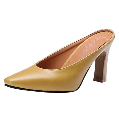 Aunimeifly Women's Temperament High Heeled Ladies Pointed Toe Working Pumps Slip On Convenient Shoes Yellow