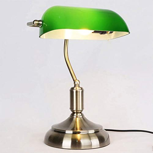 Marching orchid Traditional Banker's Lamp, Antique Style Emerald Green Glass Desk Light Fixture,Metal Lamp Body, Glass Lampshade, Rope Switch