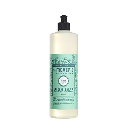 Mrs. Meyer's Clean Day Mint Dish Soap, 16 Fluid Ounce (Pack of 6)