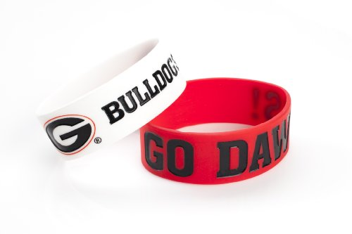 Bulldog Wristband (NCAA Georgia Bulldogs Silicone Rubber Bracelet, 2-Pack)
