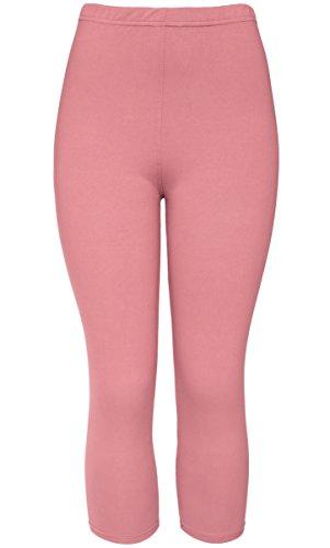 KMystic Women's Basic Brushed Solid Capri Leggings Regular and Plus Sizes (Plus Size, Ash (Pink Soft Capris)