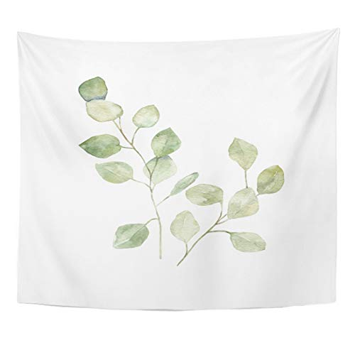 Green Tapestry Floral - Emvency Tapestry Floral Green Leaf Watercolor Eucalyptus White Botanical Watercolour Aquarelle Home Decor Wall Hanging for Living Room Bedroom Dorm 50x60 Inches