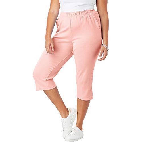 (Roamans Women's Plus Size Soft Knit Capri Pant - Peach Blush, 3X )