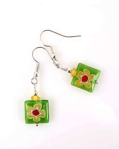Millefiore Square Glass Dangle Earrings Green with Yellow Flower