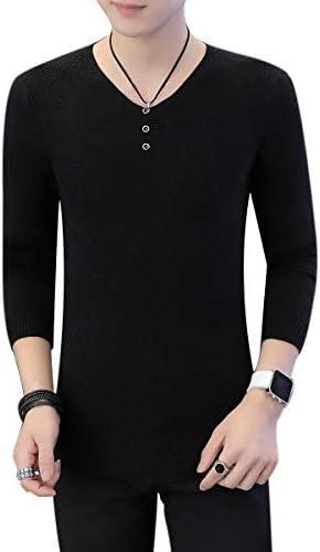 フェイクボタン Vネック カットソー 無地 長袖 インナー セーター シンプル シルエット メンズ
