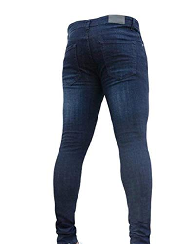 Jeans Da Slim Pants Denim Stretch Design Abbigliamento Uomo Blau1 Fit Vintage Pocket Classics Unita Tinta A qxaCwvw