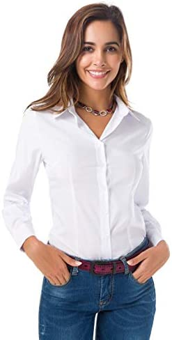 Atnlewhi Womens Long Sleeve Button Down Shirts Simple Blouses Stretch Formal Casual Dress Shirt