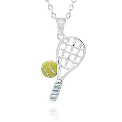 Sterling Silver Tennis Racquete Ball Pendant Necklace, 17.5