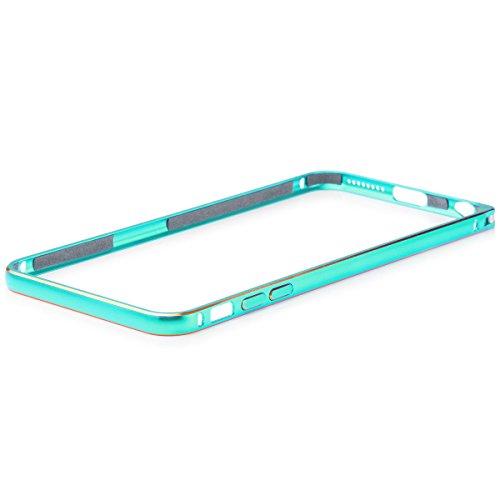 Apple iPhone 6 / 6S + PLUS (5,5 pouces) | iCues aluminium Pare-chocs Bicolor Turquoise | [Film de protection écran compris] CNC aluminium métal cadre métallique Case Case Alubumper Coque Housse Sac Ét