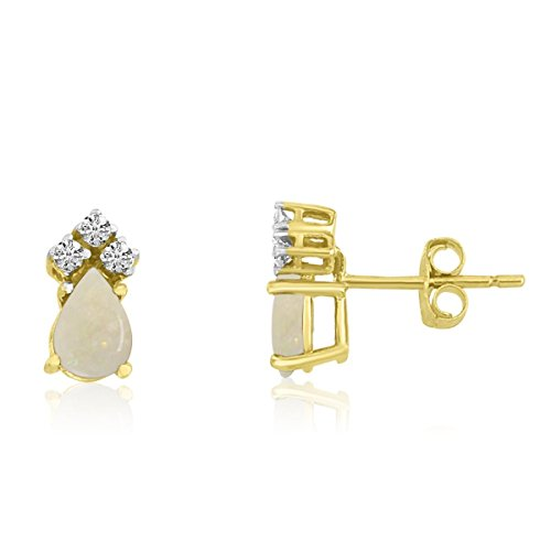 FB Jewels Solid 14k Yellow Gold Studs Genuine Birthstone Opal Pear Earrings with Diamonds (0.44 ()