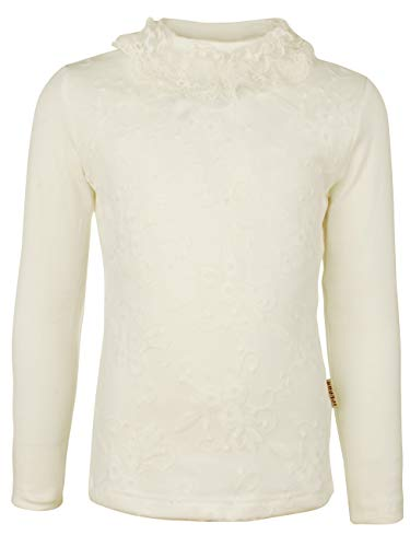 Ipuang Big Girl Long Sleeve Cotton Flowers Lace T Shirt Top 12 White