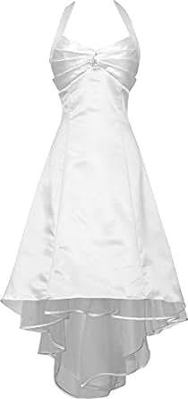 Medon's Women's Plus Size Satin Halter Bridesmaid Prom Dresses 3X White