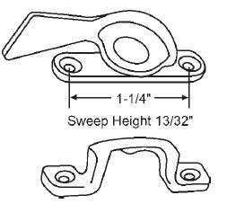 STB White Bronze Sweep Lock, 1-1/4'' Between Mounting Holes, Bronze Casting