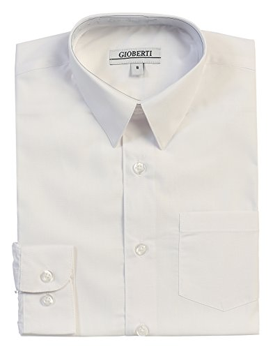 Gioberti Boys Solid Dress Shirt, White, 7 -
