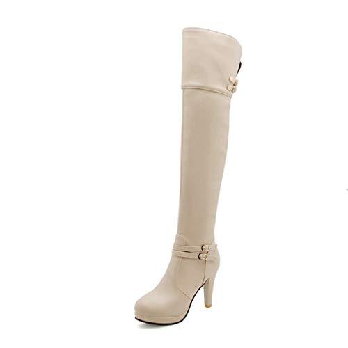 (Spring Autumn Platform High Heels Women Over The Knee Boots Thigh High Boots Round Toe Thin Heels Boots Khaki)