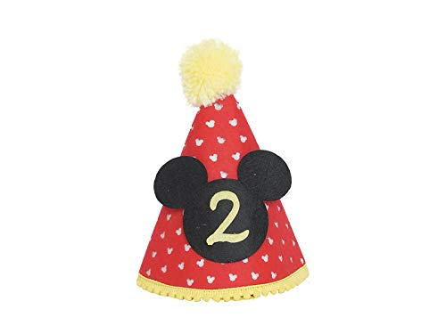 Mickey party hat| Second Birthday Outfit Boy Mickey Mouse Party Hat Cake Smash Outfit | 2nd Birthday Outfit | Party Hat | Cake Smash Cake Photoshoot Photoprop (Second Birthday Hat, Elastic Strap) -