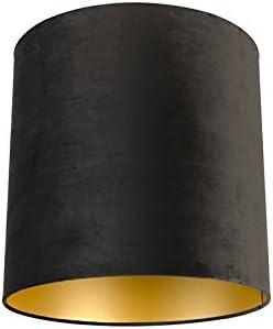 QAZQA Algodón Pantalla terciopelo negro 40/40/40 con interior dorado, Redonda/Cilíndrica Pantalla lámpara colgante,Pantalla lámpara de pie: Amazon.es: Iluminación