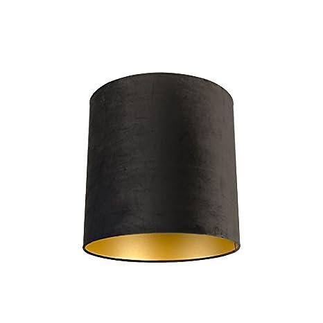 Algodón QAZQA 404040 Pantalla terciopelo negra dorada m8n0vNw