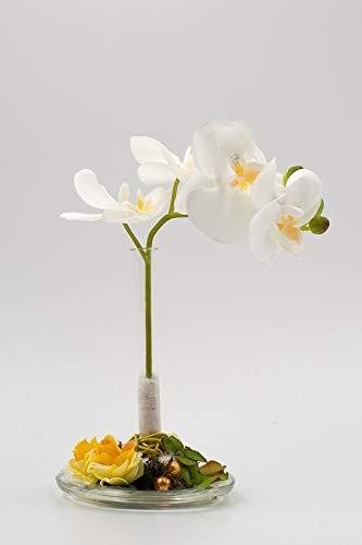 Centro de mesa con phalaenopsis blanca,pequeñas rosas amarillas+ ...