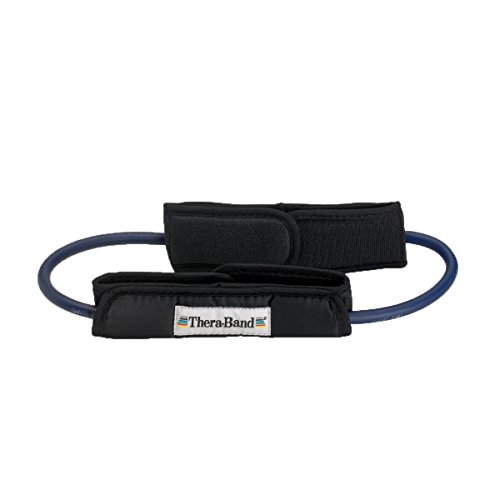 TheraBand Resistance Tubes with Padded Cuffs, 12'' Long Professional Latex Elastic Tubing with Handles for Physical Therapy, Pilates, At-Home Workouts, Rehab, Blue, Extra Heavy, Intermediate Level 2 by TheraBand