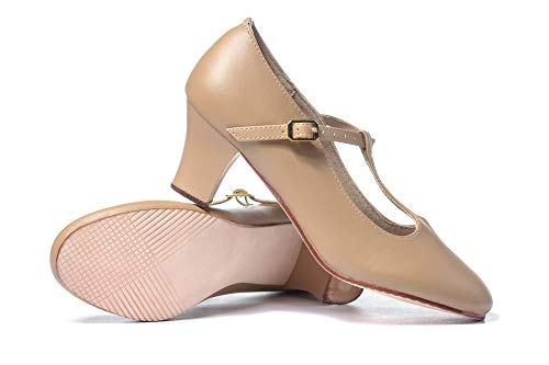"""Theatricals Adult 2"""" T-Strap Character Shoes T3300TAN06.0 Tan 6 M US"""