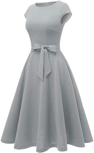 DRESSTELLS Women's Prom Tea Dress Vintage Swing Cocktail Party Dress with Cap-Sleeves 2