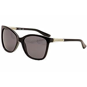 GUESS Women's Acetate Square/Cat-Eye Cateye Sunglasses, 01B, 58 mm