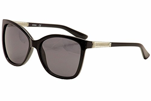 GUESS Women's Acetate Square/Cat-Eye Cateye Sunglasses, 01B, 58 mm