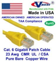 UL CSA CMR and 100/% Copper 50u Gold Plating Yellow Color Cat6 High Performance Cat6 Patch Cable 23Awg Made in USA 25 Ft Cat.6 Gigabit Patch Cable
