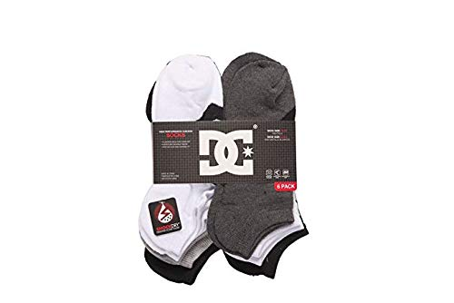DC 6-Pack Men's Sport No Show Socks Assorted, 10-13 Size (Shoe Size 6-12.5) (White-Black) (Mens Dc Sweatpants)