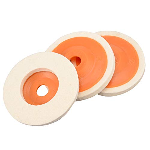 Maslin 3Pcs 4'' Wool Felt Polishing Buffing Pad Angle Wheel Polishing Disc for Rotary Tool Kit Abrasive Tool