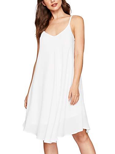 (Romwe Women's Adjustable Strap Summer Beach Sleeveless Casual Loose Swing Dress White XL)