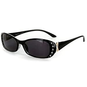 """""""Solara"""" Rx-Able Full Reading Sunglasses (No Bifocal) with Crystals for Women (Black w/ Smoke +1.00)"""