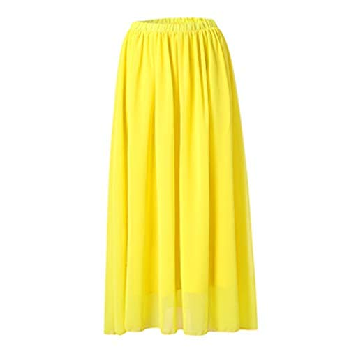 - VEZAD Women Fashion Spring Summer Casual Solid Color Midi Skirt Chiffon Skirts