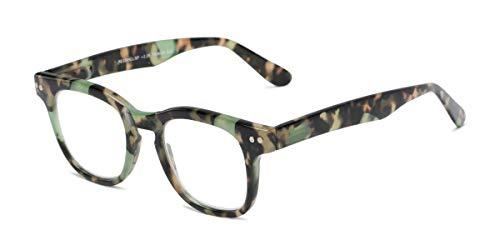 Readers.com | The Hopper +1.50 Green/Brown Tortoise Retro Square Stylish Men's & Women's Full Frame