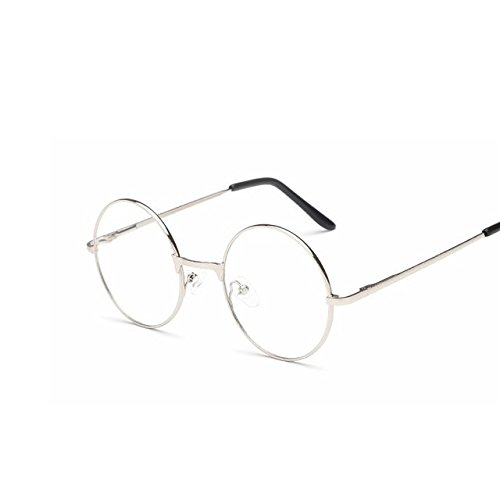 Buildent(TM) Men/women Round Sunglasses Retro Metal Frame Eyeglasses Korean Clear Lens Glasses Male Female Optical Circle Plain Mirror [ Silver - Korean Frames Glasses