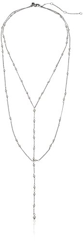 Rebecca Minkoff Layered Rhodium with Pearl Necklace, 17.5...
