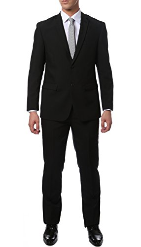 46L Mens 2pc 2 Button Slim Fit Black Paul Lorenzo ()