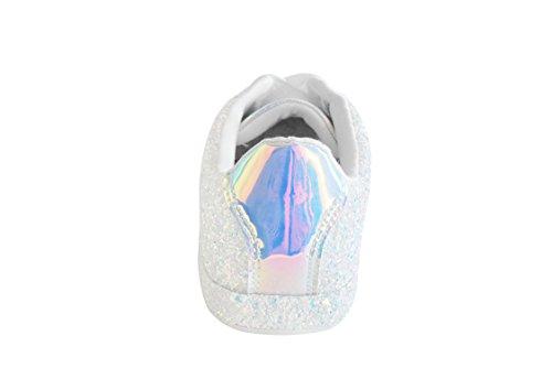 ROXY ROSE Damen Sneaker Flats Metallic Leder Glitter Fashion Sneakers Schuhe schnüren sich Hologramm Weiß