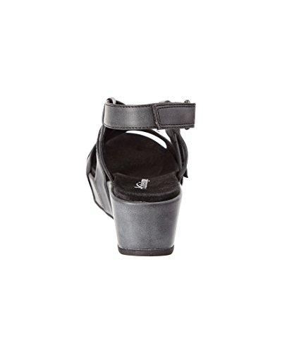 Damessandalen 405 Metallic Lederen Sandalen Met Dubbele Velg Zwart