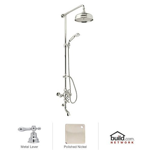 - Rohl AC414L-PN Cisal Shower System with Exposed Thermostatic Valve, Shower Head, Polished Nickel