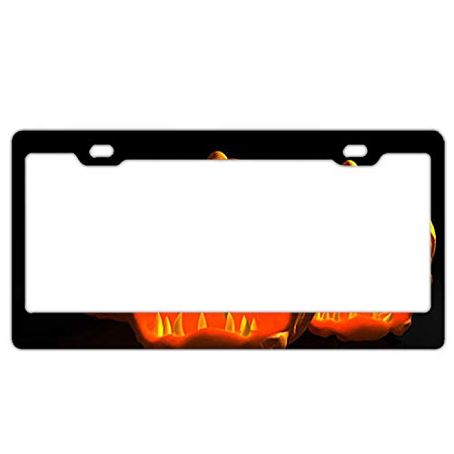 Verna Christopher Scary Halloween Pumpkin Carving License Plate Frames 2 Hole Kit Fits All US License -