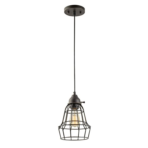 - Globe Electric Elior 1-Light Pendant, Oil Rubbed Bronze, Cage Shade, Black Cord 64172